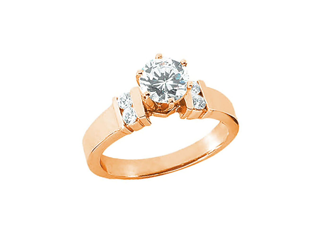 Natural 0.70Ct Round Diamond Engagement Ring Channel Set Accents 10k gold GH I1