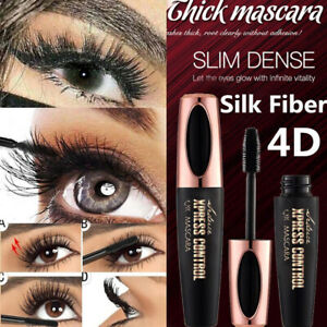 Black-4D-Mascara-Silk-Fiber-Eyelash-Waterproof-Extension-Makeup-Eye-Lashes-New