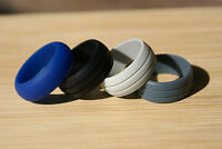 Silicone Wedding Ring Band Hypoallergenic Rubber Crossfit Set Of 4 Mens