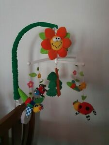PLAYGRO-COT-MUSICAL-MOBILE-SUN-FACE-BEE-SPIDER-LADYBUG-DRAGONFLY-LEAF-PRE-LOVED