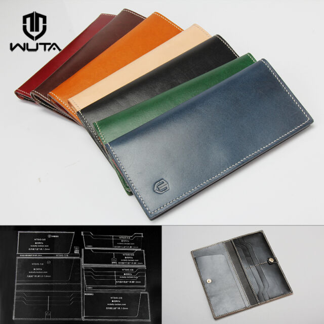 fashion long wallet acrylic leather template 4 card slot pattern