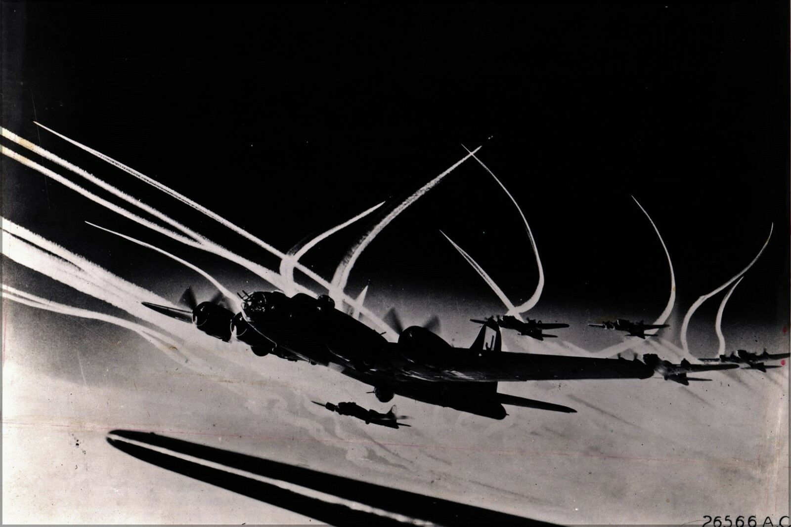 Poster, Molte Misure; Boeing B-17f Flying Fortress 390th 390th 390th Bg Caccia Contrails 194 584e59