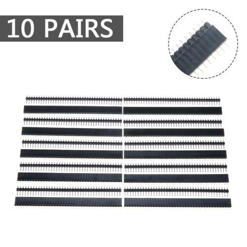 10 Paare  Stiftleiste schwarz40 Pins2,54mmPin Header Breadboard Arduino