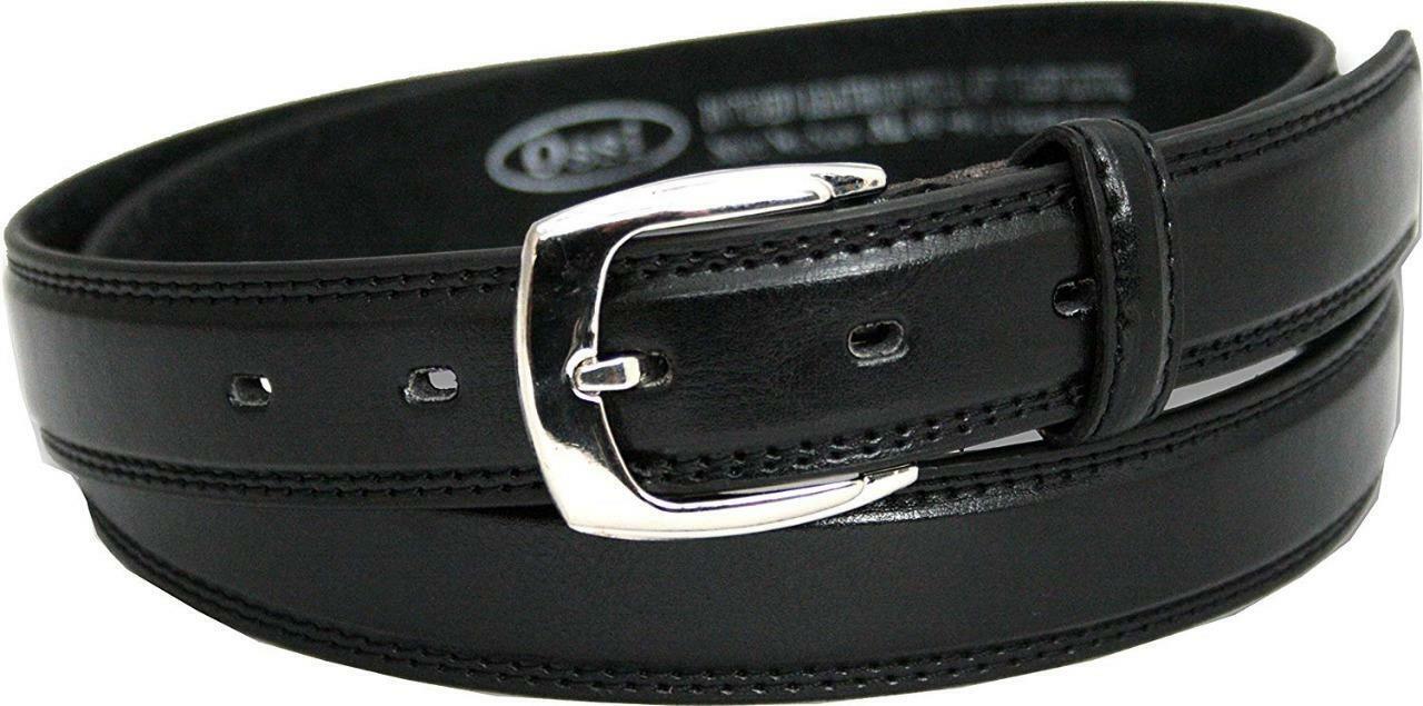 28mm Clásico de Cuero Genuino Doble Cosido Forrado Cinturón Negro por Ossi