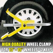 """Heavy Duty Trailer Wheel Clamp For 13"""" 14"""" & 15"""" Wheels Security Lock 2 Keys"""