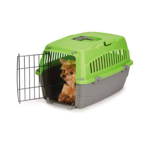 Small Dog Cat Pet Travel Crate Lightweight Pet Carrier Plastic /& Wire Kennel Cab