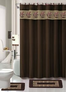 18 Pc Bath Rug Set Oakland Coffee Brown Bathroom Shower