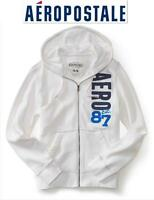 Sz M Aeropostale White Hoodie Sweatshirt Full Zip Appliqued Logo Jacket