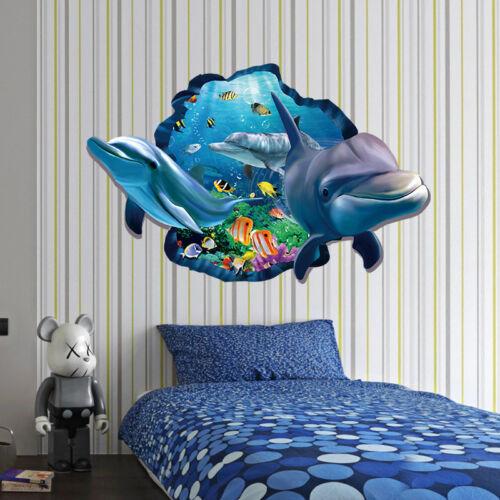 Dolphin Wall Sticker Ocean Waterproof Bathroom Kitchen 3D Decal Mural For Kids