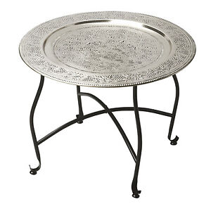 Image Is Loading TABLES MARRAKESH EMBOSSED METAL TRAY TABLE ROUND TABLE