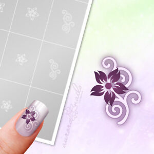 Airbrush-Nailart-Stencils-FS019-Ornament-floral-flowers-40x-Adhesive