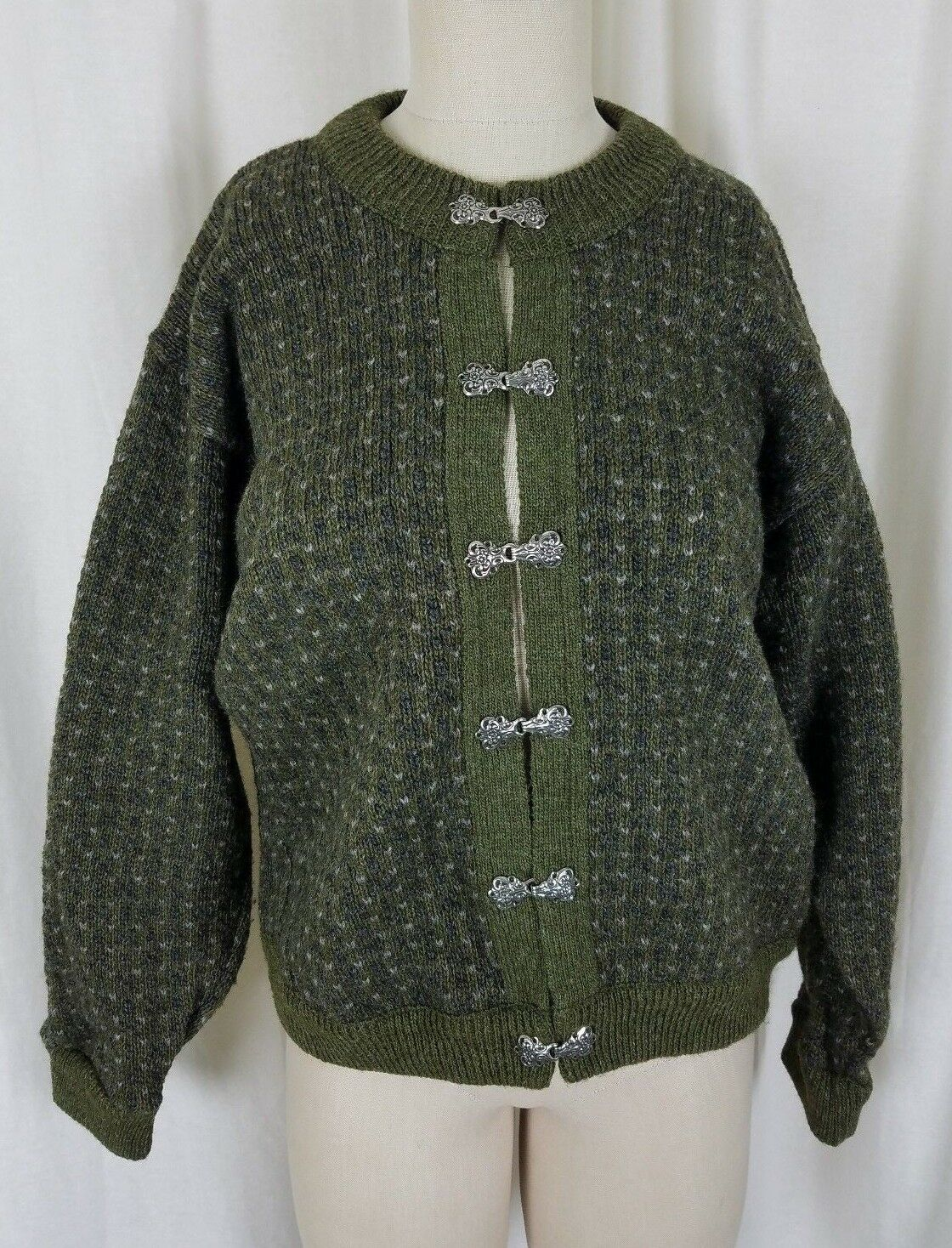 LL Bean Gyapjú Nordic Aspen Kötött pulóver Jacket Birdseye Pewter Clasps Női M