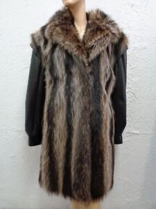 6 Raccoon Coat Jacket Fur New amp; Woman Small Size Leather Refurbished Women F6Cw7qvn