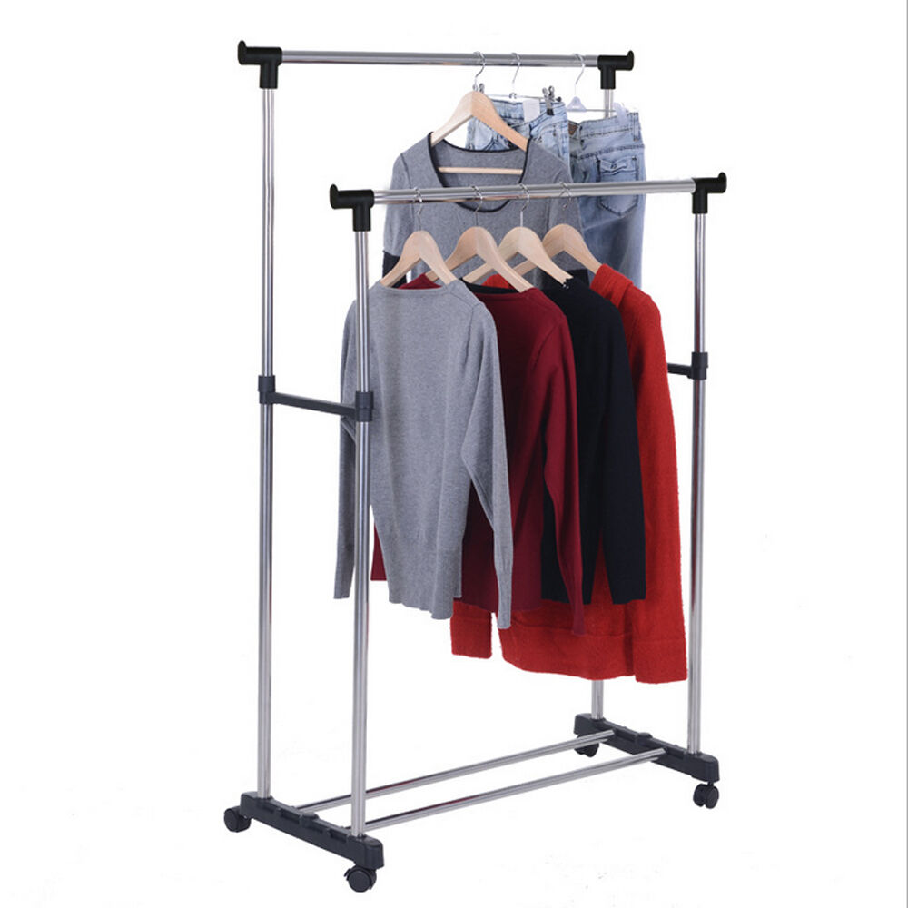 rolling portable adjustable clothes rack double bar rail hanging garment hanger 632598213670 ebay. Black Bedroom Furniture Sets. Home Design Ideas