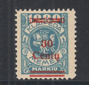Memel-Sc-N114-MNH-1923-30c-on-1000m-blue-Vytis-fresh-bright-VF