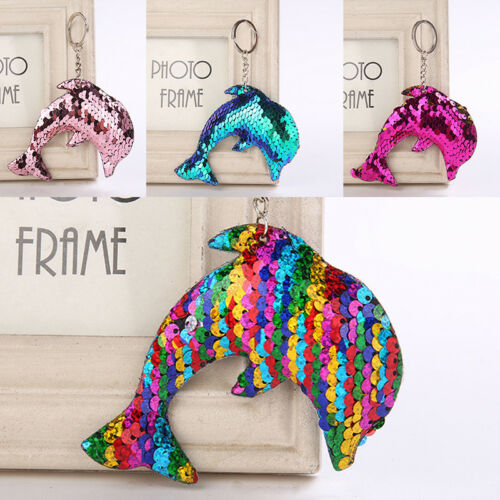 Mermaid Sequins Keychain Handbag Pendant Dolphin Keyring Bag Accessories G$