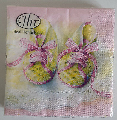 Papel Servilletas. Zapatos de Bebé en Rosa Ideal Para Un Baby Shower O Bautizo