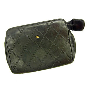 4350d36c925b2c Image is loading Chanel-Pouch-Bag-Black-Woman-unisex-Authentic-Used-
