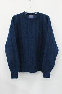 Pendleton-Blue-Cable-Knit-Wool-Crew-Neck-Sweater-Size-Men-039-s-XL