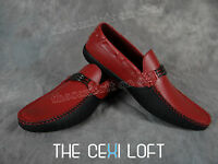 Mens Giovanni Italian Style Casual Dress Shoes 2-tone Faux Leather Red Black 812