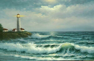Art-oil-painting-seascape-lighthouse-by-the-beach-with-sunset-ocean-waves-canvas