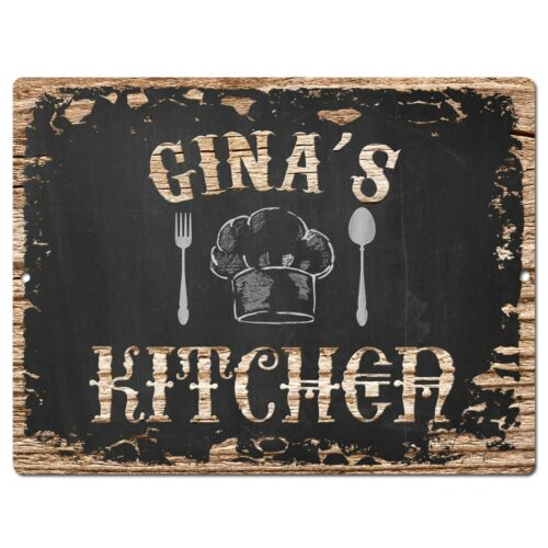 PP2044 GINA/'S KITCHEN Plate Chic Sign Home Room Kitchen Decor Birthday Gift