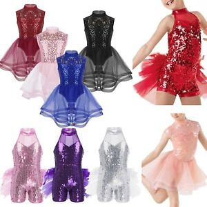 Girls-Sequin-Ballet-Leotard-Dance-Dress-Gymnastics-Lyrical-Contemporary-Costume