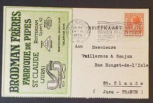 1934-Rotterdam-Netherlands-France-Brodman-Bros-Pipe-Advertising-Postcard-Cover