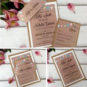 Vintage-Wedding-Invitations-amp-Evening-Invites-Personalised-Bunting-Kraft