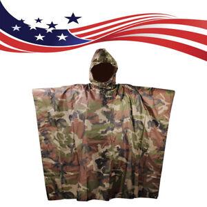 Brand army style waterproof rain RipStop poncho cape military Woodland camo