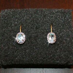 Image Is Loading 2 Carats Aquamarine Tiny Diamond Leverback Earrings 14k