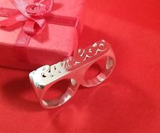 Two Finger Name Ring Personalized Sterling Silver Any Name *USA Seller Newyork*