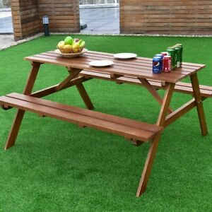 Pleasing Details About 2In1 Outdoor Solid Pine Wood Picnic Table W Attached Bench Garden Yard Furniture Beatyapartments Chair Design Images Beatyapartmentscom