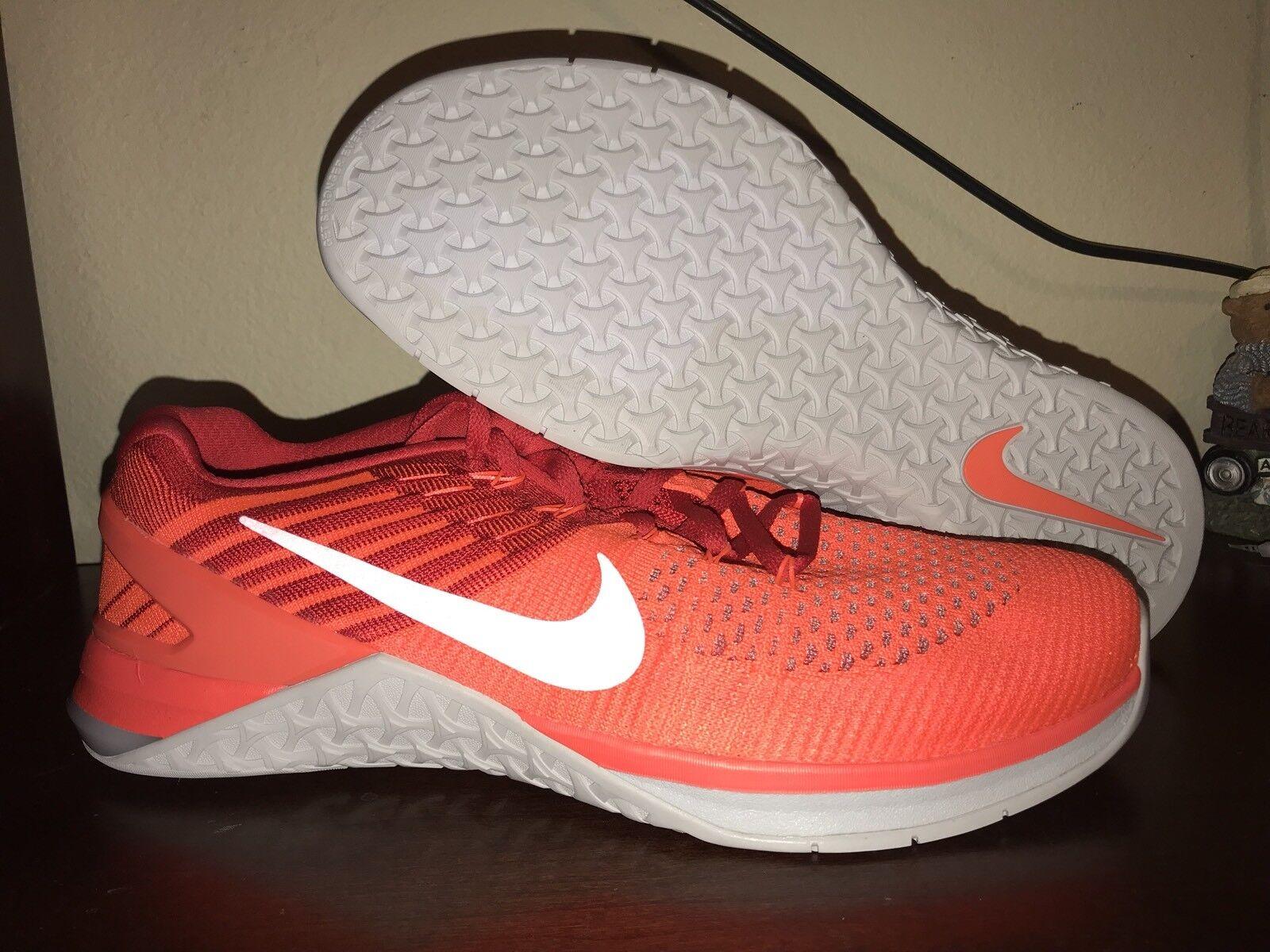 Nike Metcon DSX Flyknit Crimson orange University Red Mens Training shoes Sz 12.5