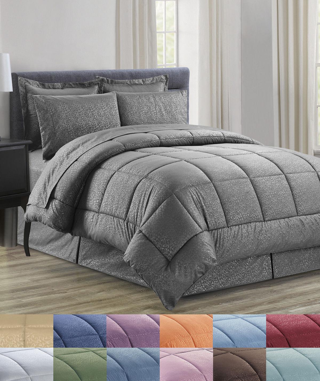 8 Piece Bed In A Bag Vine Embossed Comforter Sheet Bed Skirt Sham Set ALL NEW