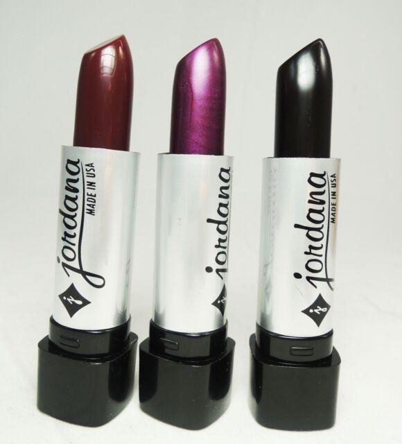 3 PCs Jordana Lipsticks - Black, Dark Purple, Burnt Sugar Lipsticks- Made in USA