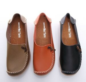 BN Womens Leather Comfort Casual Walking Bowed Flat Shoes Loafers ...