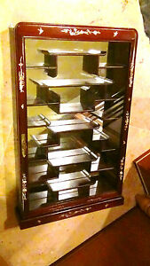Antique Chinese Rosewood Mirrored Glass Wall Hanging Curio