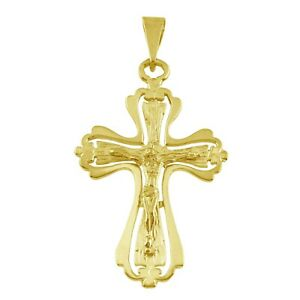 10k Yellow Gold CZ Filigree Cross Pendant