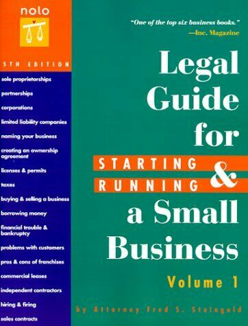 Legal Guide for Starting   Running a Small Business  5th Ed