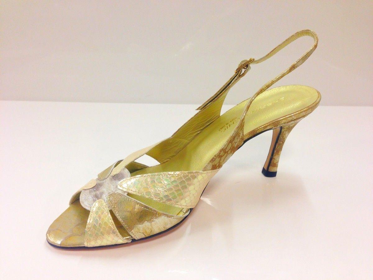 Sabrina Toe Chic Damenschuhe Gold Peep Toe Sabrina Slingback Heel Schuhes UK8 / EU41 (2674 P-L 731) dabde4