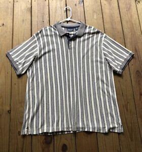 50eef765f91bd Trader Bay Golf men s 3XL tan beige stripe short sleeve polo shirt w ...