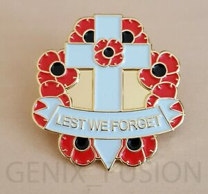 Remembrance-Day-2019-Poppy-Badge-Lest-We-Forget-Cross-Wreath-Metal-Pin-Badge