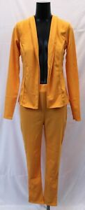Boohoo-Women-039-s-Crepe-Fitted-Suit-CK6-Mustard-Size-UK-12-US-8-NWT