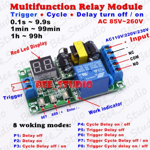 AC 110V 220V 230V Digital LED Trigger Cycle Delay Turn ON//OFF Timer Relay Switch