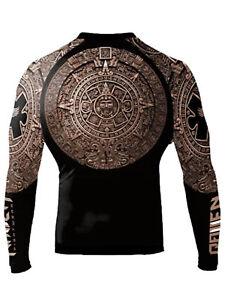 Raven Fightwear Men's Aztec Ranked Rash Guard MMA BJJ Brown