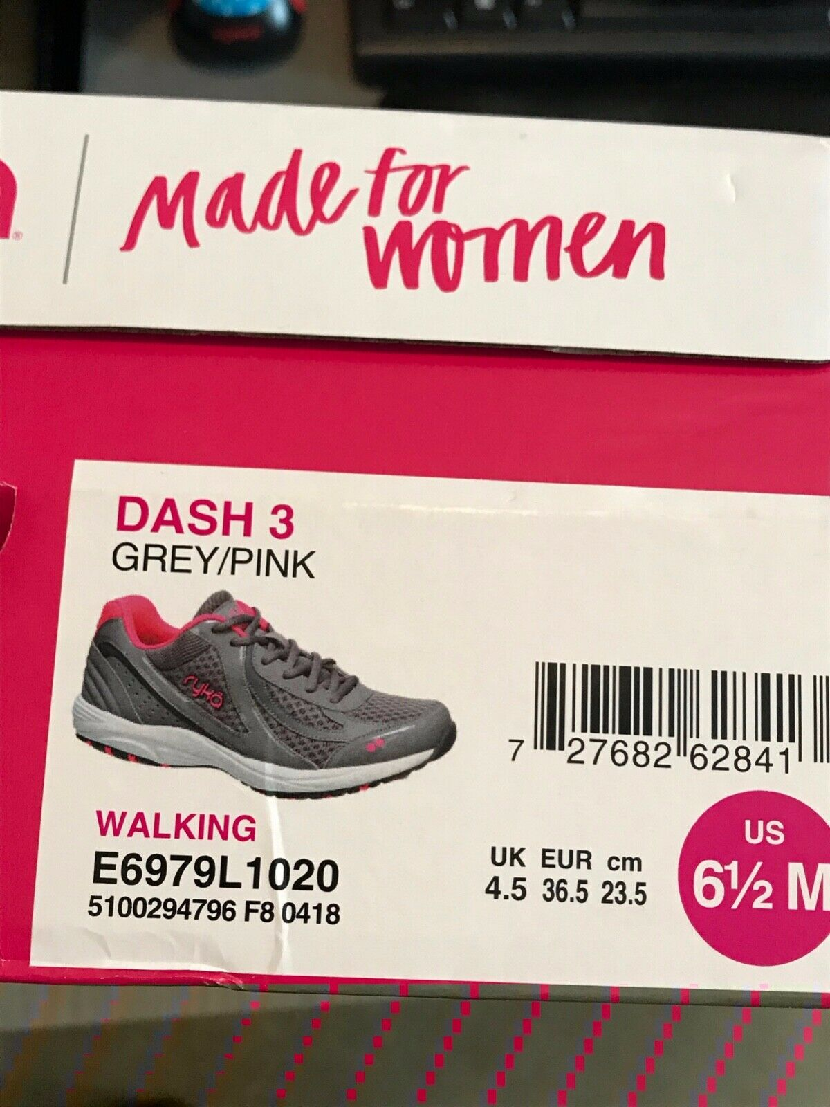 Ryka Womens Dash 3 Grey Pink Walking shoes Size 6.5 M