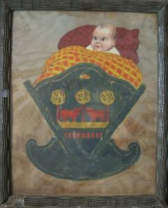 ARPAD-SCHMIDHAMMER-1857-AQUARELL-BABY-KIND-IN-WIEGE-KARIKATUR-UM-1900