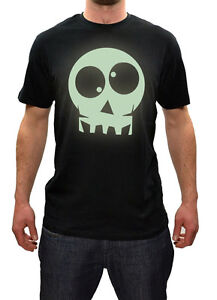 Mens Scary Halloween Glow In The Dark Skull T Shirt Colours New S