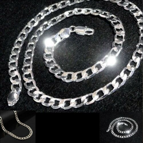 """Mens Polished 925 solid  silver filled Plated 24/"""" long 8mm curb chain necklace"""